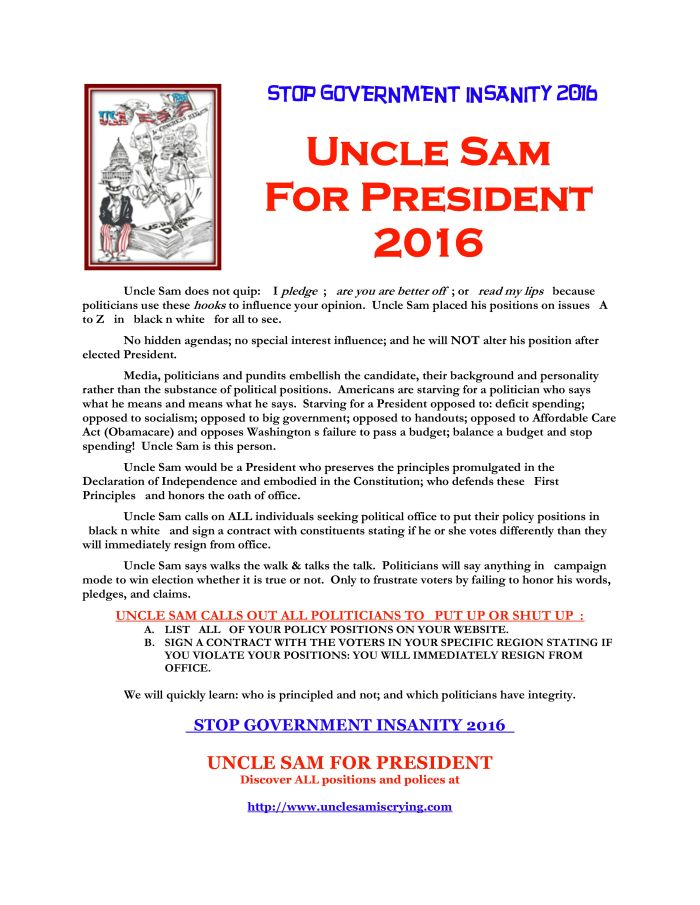 UNCLE SAM FOR PRESIDENT