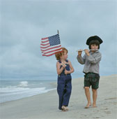 Patriotic Boys on beach