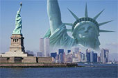 Statue of Liberty in NY skyline
