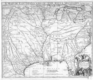 1721 map of louisianna and missippi river arenas