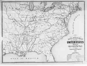 1851 railroad map of the US
