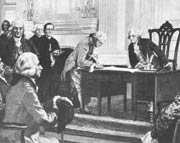 George Washington Presides Over The Signing of The Constitution In September of 1788. Note Ben Franklin and James Madison at left of scene.